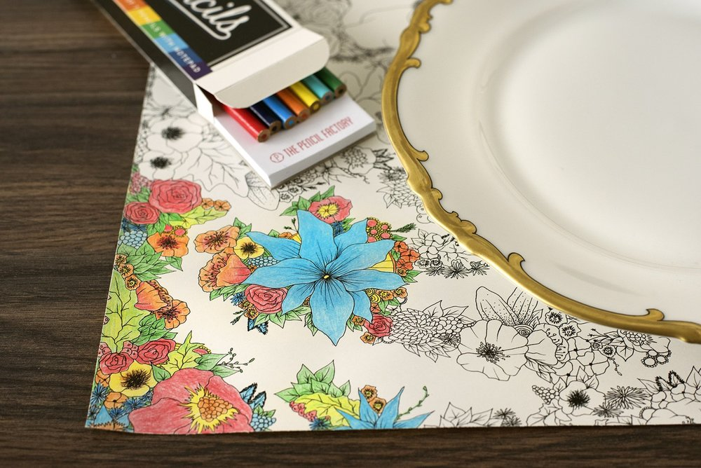 Floral Coloring Paper Placemat from White and Fig