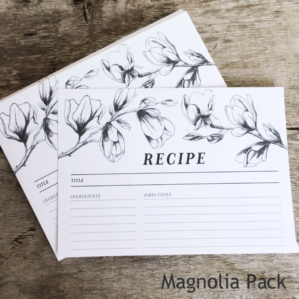 Magnolia Recipe Cards from White and Fig