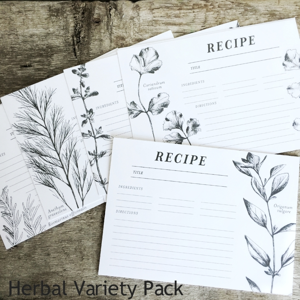 Herbal Recipe Cards from White and Fig