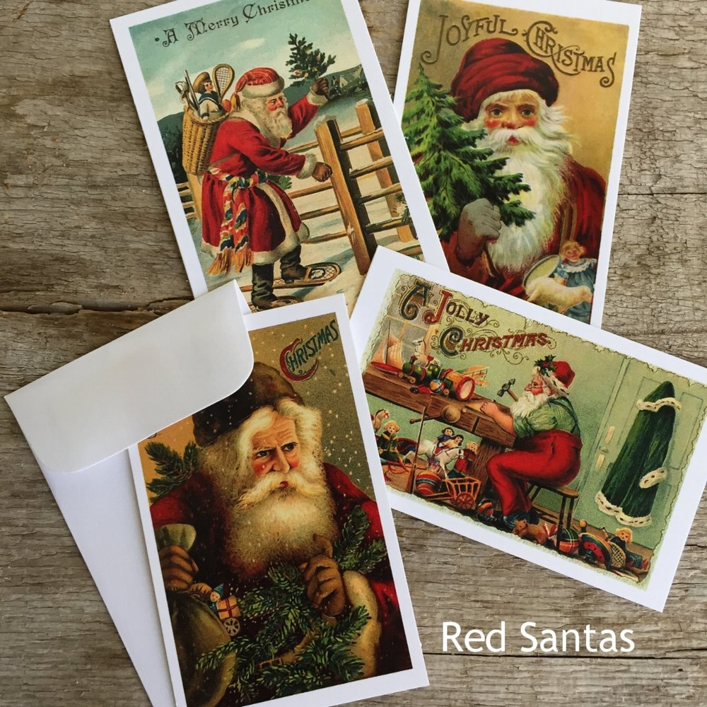 Red Santas Mini Gifting Cards from White and Fig