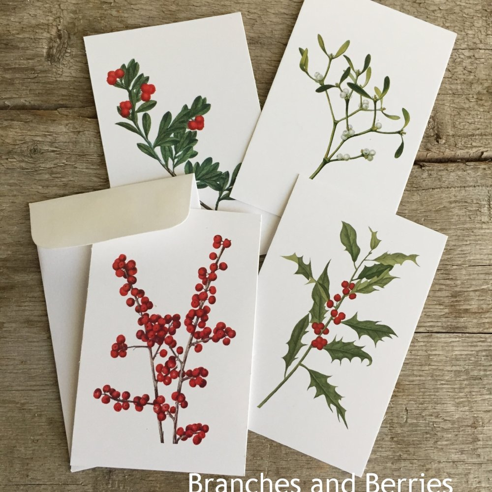 Mini Gifting Cards in Branches and Berries from White and Fig