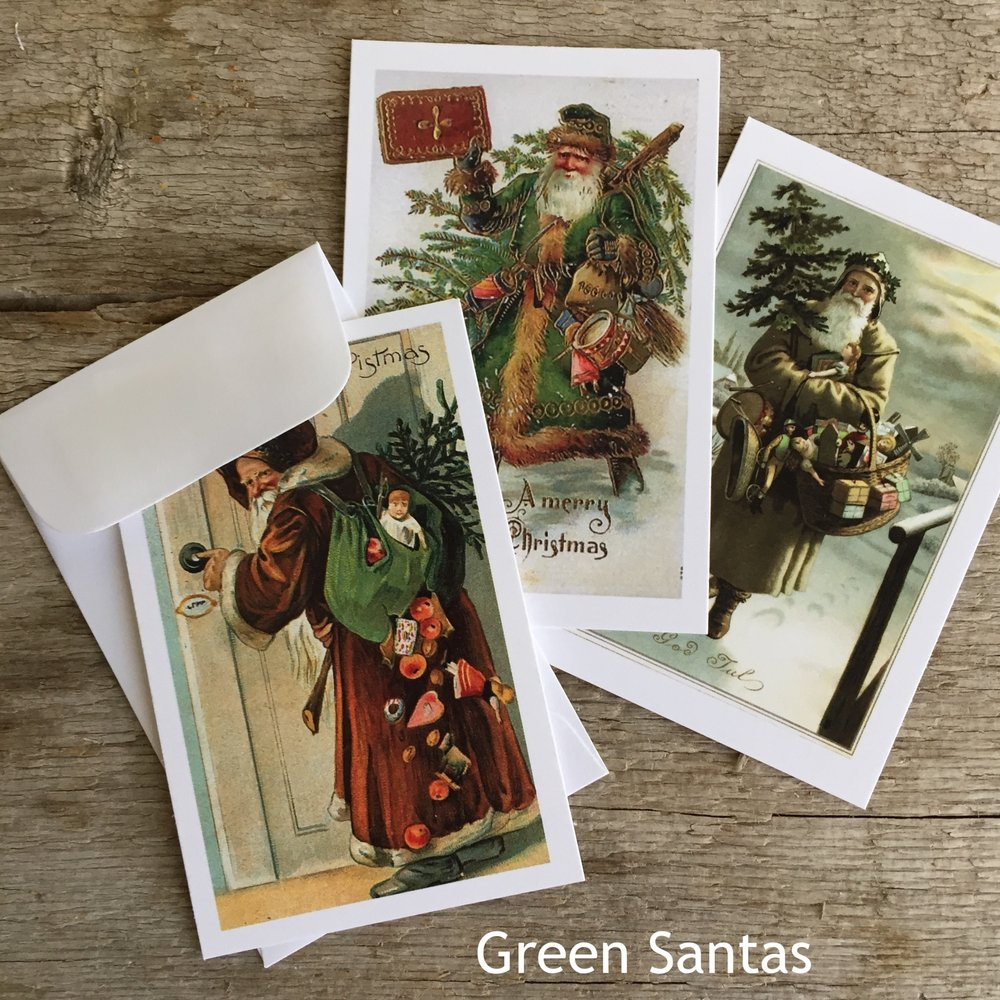 Mini Gifting Cards in Green Santas from White and Fig