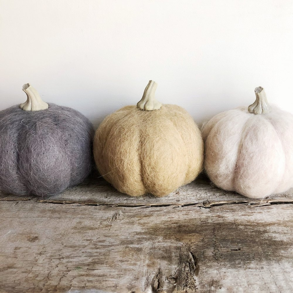 Wool Pumpkins from White and Fig