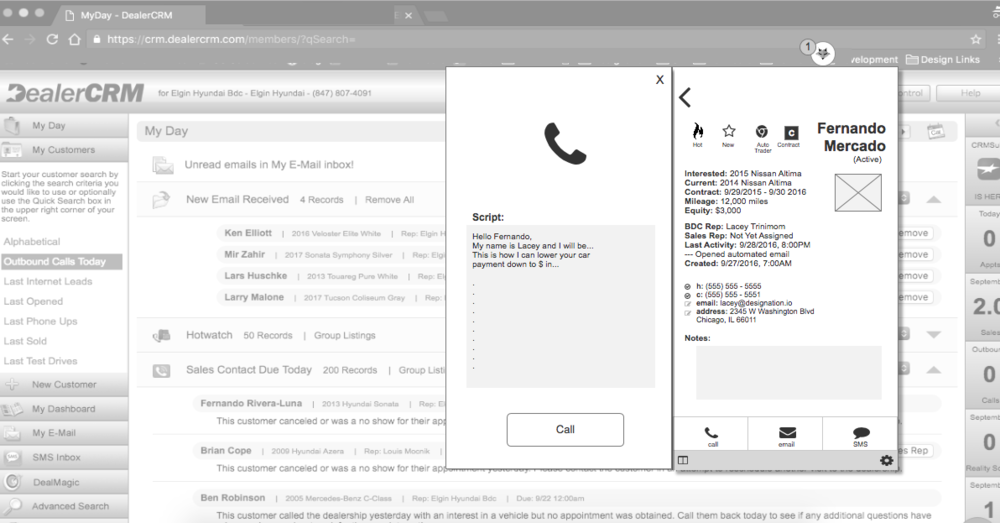 Converged prototype   - Our converged prototype combined concepts 1 and 2 to create a browser extension with persistent panels for call, email, and SMS workflows. The dashboard view was made accessible through the extension window as a larger, more detailed view.