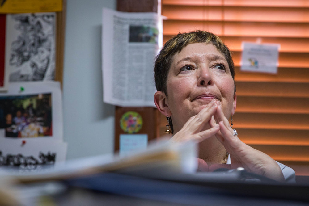 Rhonda Perry, farmer and program director at the Missouri Rural Crisis Center, takes a break between meetings on Tuesday, Feb. 7, 2017, in Columbia, Missouri. Perry said she would not have survived cancer twice if she did not have health insurance provided through her employment at the Missouri Rural Crisis Center. Photo by Meiying Wu.