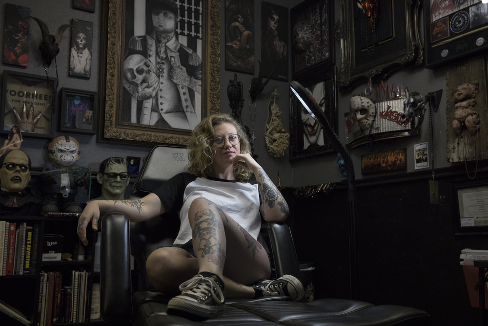 "Jordan Allred, 25, a local tattoo artist poses for a portrait at Resurrected Tattoo on Friday, July 27, 2018. Allred has lived in Idaho for 23 years, and she said being an Idahoan means, ""community, being a friend and humble."""
