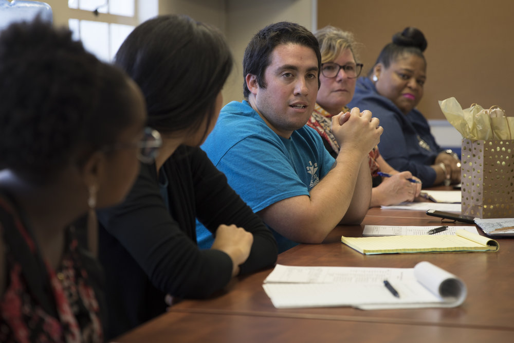 Demetrio Gonzalez, center, the president of United Teachers of Richmond, attends a climate meeting on Tuesday, Oct. 2, 2018. (Photo by Meiying Wu)