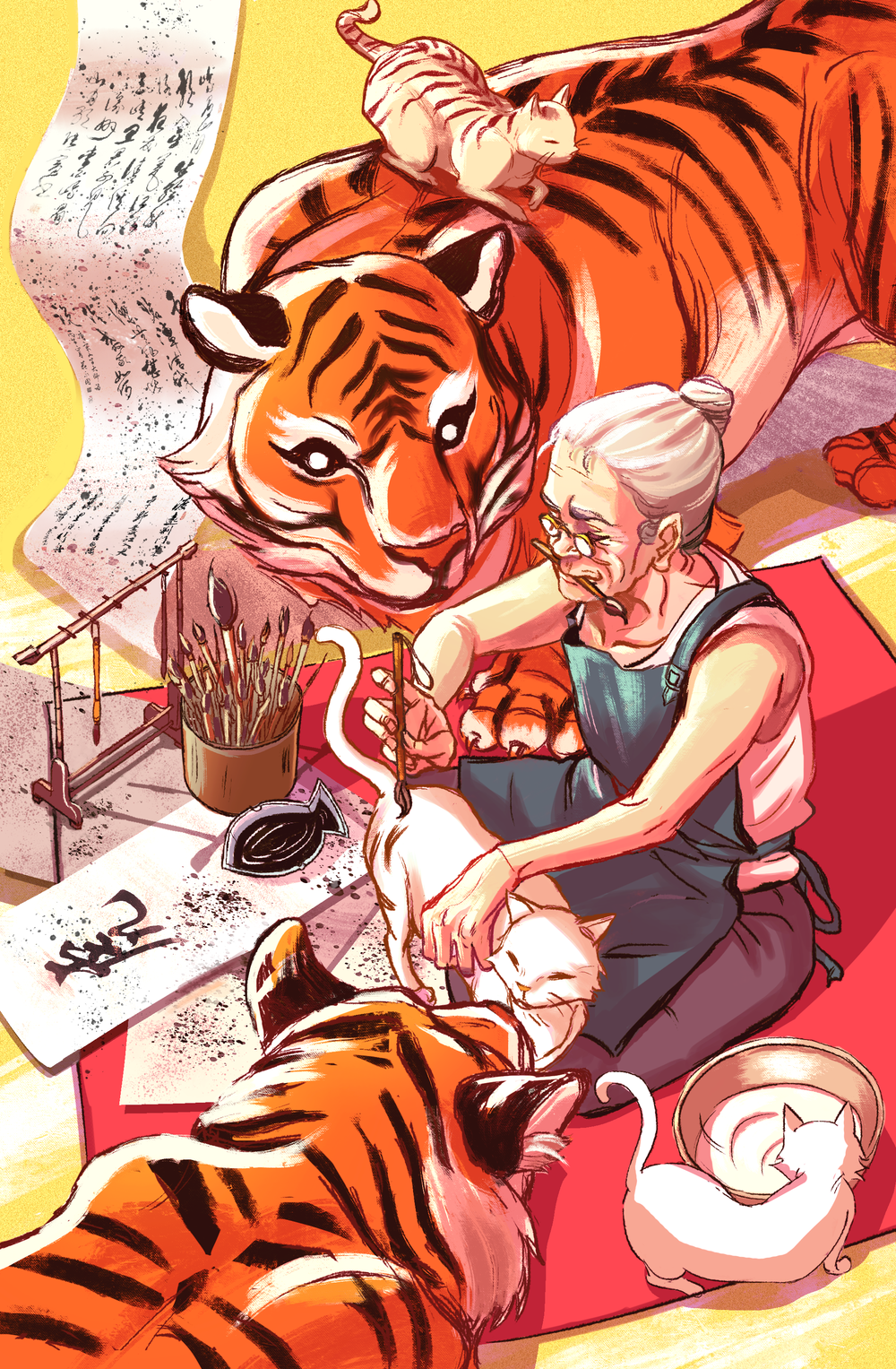 - Creating TigersAn illustration that was included in an all asian artists illustration compilation. Every artist chose an animal in the chinese zodiac to illustrate. I chose the tiger and came up with a story of an old woman who creates tigers from cats by painting stripes unto them.