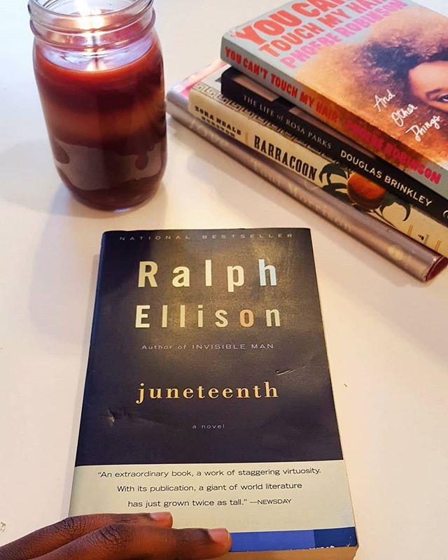 "If you haven't heard, our book for this month is ""Juneteenth"" by: Ralph Ellison. Have you been reading along with us already? Tag us in a picture of you reading the book and use #readblackwords"