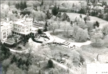 """Photograph: Groundbreaking Day The sprawling grounds of Manhattanville College's campus circa May 3, 1951 - designed by Frederick Law Olmstead.                                                                                    * """"Frederick Law Olmsted, acclaimed as North America's greatest landscape architect, created plans for both the outdoors and the architecture for the buildings in the Farm Group. He had previously designed New York City's Central Park, the nation's first major urban park, and numerous other treasured public spaces including the landscapes for the United States Capitol, the White House and the Jefferson Memorial. Olmsted's Contribution to the Environment 