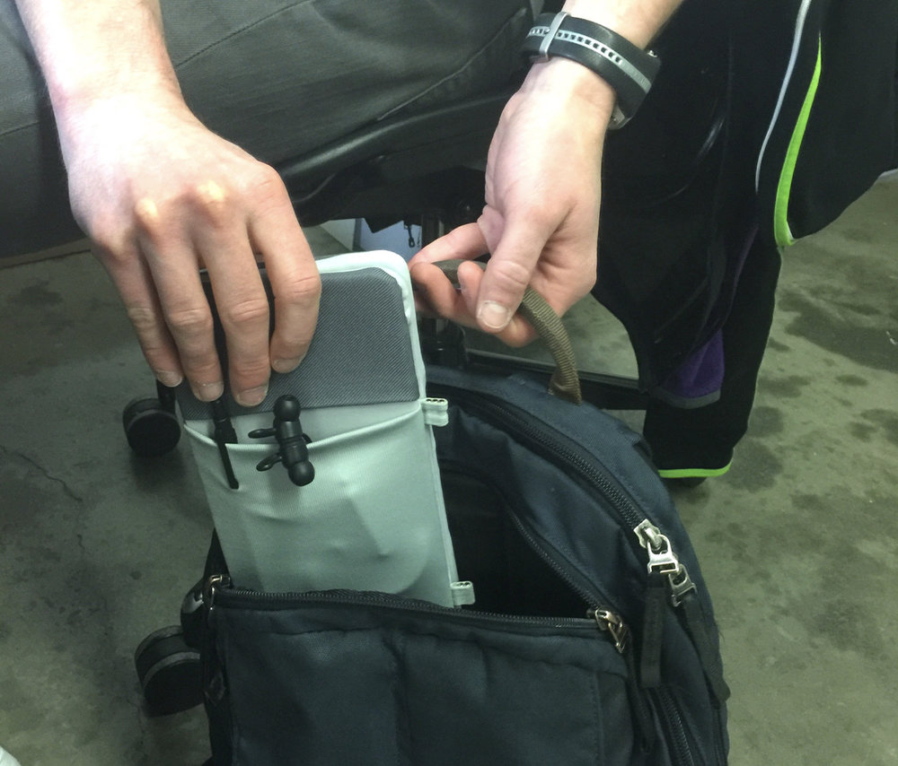 Detachable modules can be stored separately or carried as a standalone portable battery for other rechargeable devices.