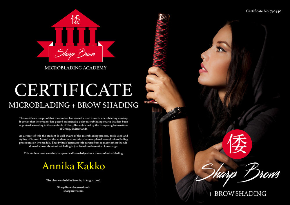 SharpBrows Active Practitioner Diploma awarded to Annika Kakko.