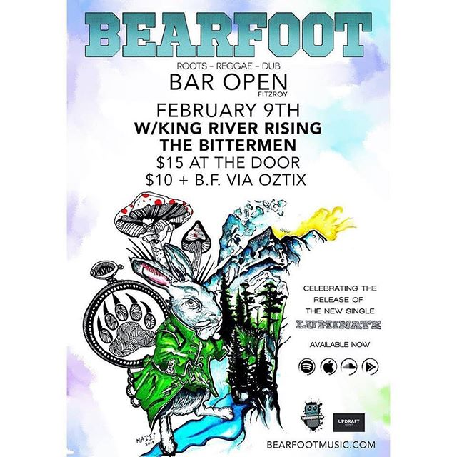 Put it in your diaries folks, we're hitting the stage at @baropenfitzroy with reggae legends @bearfootmusic and groove powerhouse @king_river_rising. #reggae #melbournemusic #livemusic