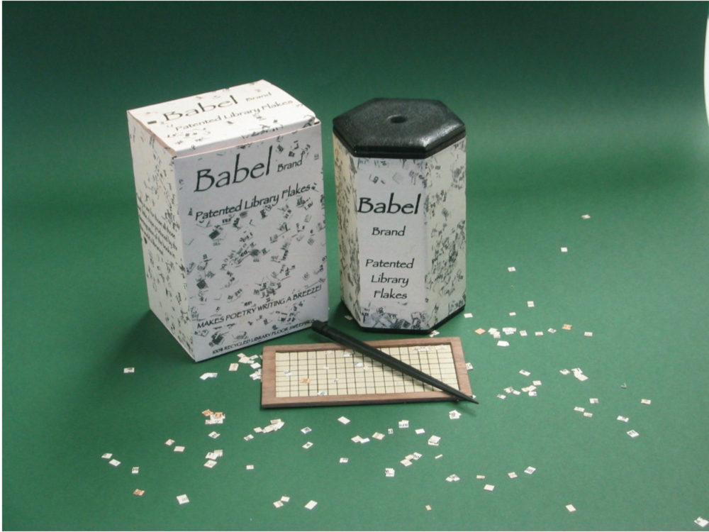 "Babel Brand Patented Library Flakes appeared in ""Labyrint"" a Borgesian book arts exhibition in Stockholm from Nov 2006 - Jan 2007"
