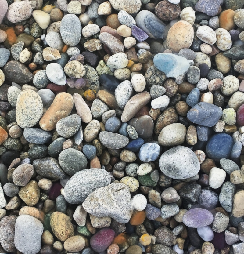 Pebbles from Duxbury Beach.  Photograph with pastel accents