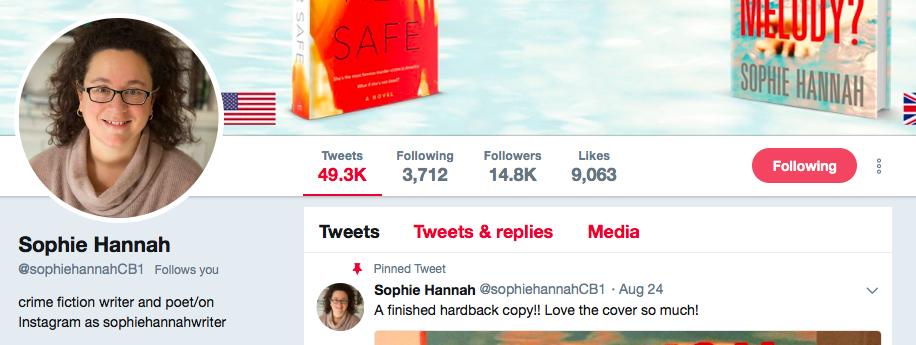 Sophie Hannah on Twitter