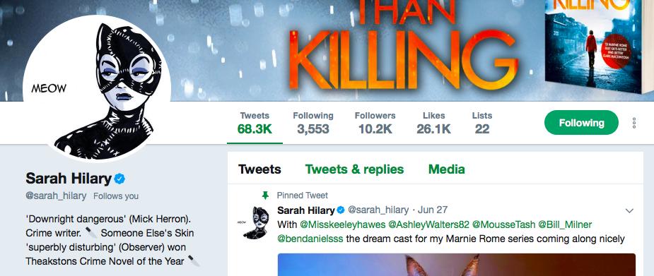 Sarah Hilary on Twitter