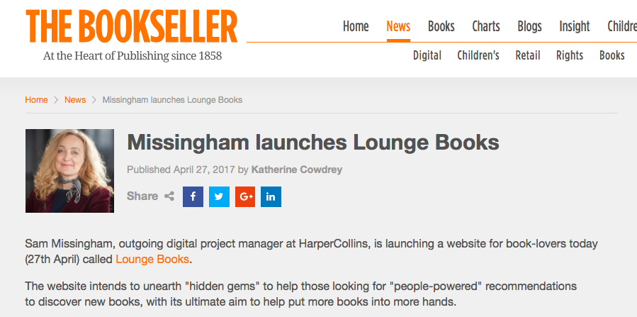 The Bookseller announcement of Lounge Books