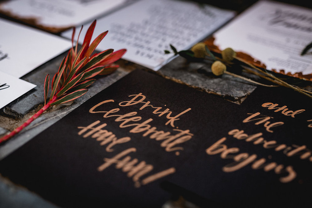 Hochzeitspapeterie, Wedding Stationery, Minimal, Boho, Lettering, Rosegold - via Viviane Lenders Design