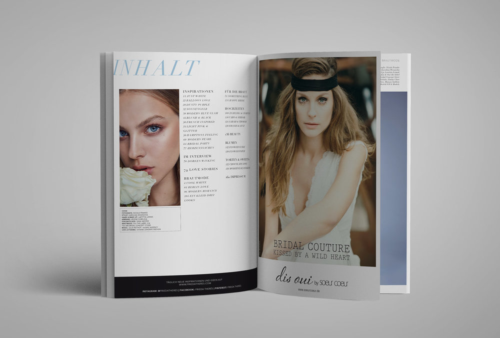Magazine Layout Work for Bridal Mag -Frieda Therés by Viviane Lenders