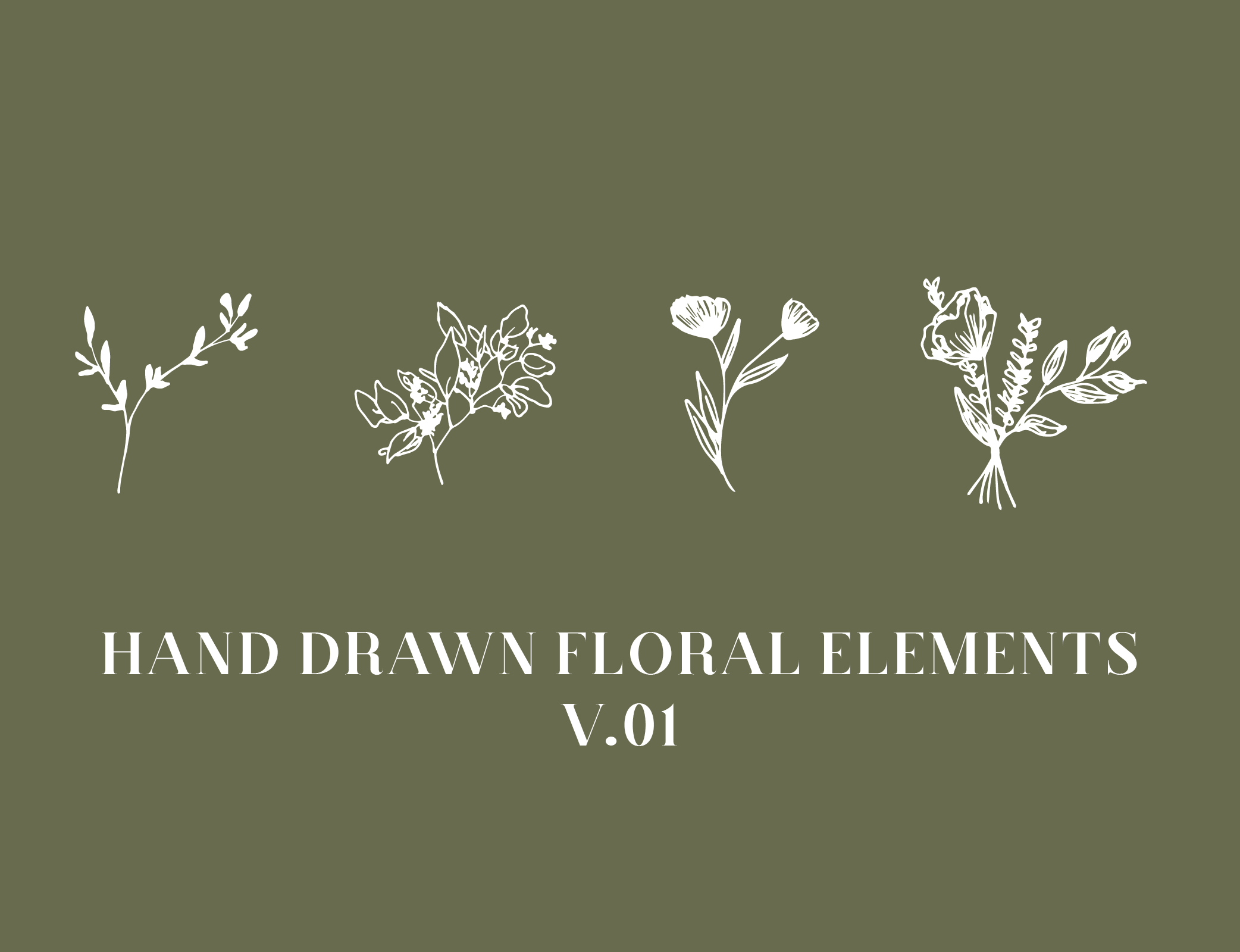 Hand Drawn Floral Elements V 01 Viviane Lenders