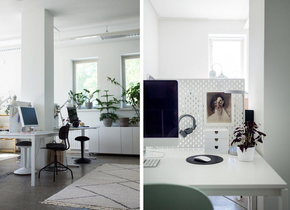 Studio Roscue toimii myös luovien ihmisten työtilana; pöytiä taisi olla kahdeksan.