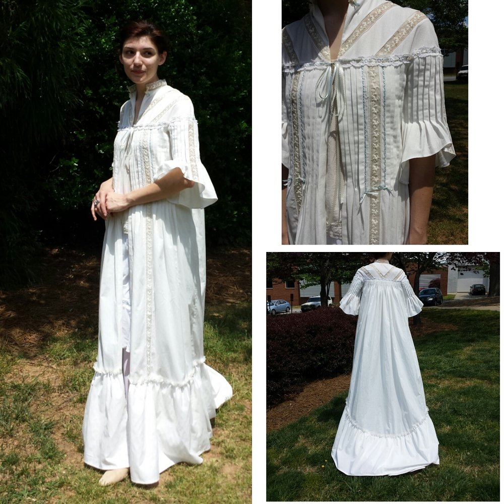 Edwardian Nightgown with pin tucks, lace inset and cartridge pleating