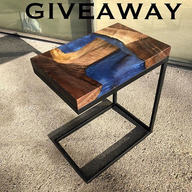 Make sure to enter the joint giveaway with our friends down at @blackforestwoodco!  Check their page for more details!! Looking forward to these side table pieces!  #free#giveaway #furniture #resin #metal #wood