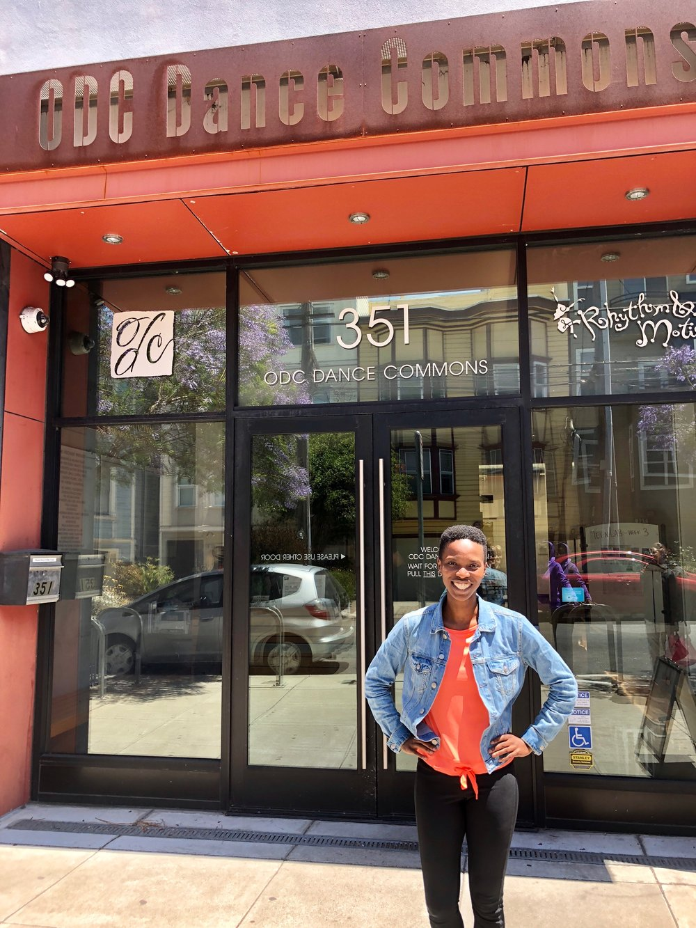 Olwethu in front of ODC Dance Commons in San Francisco.