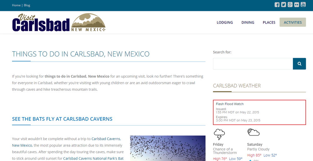 Articles for Visit Carlsbad, an online tourism guide to Carlsbad, New Mexico, USA.
