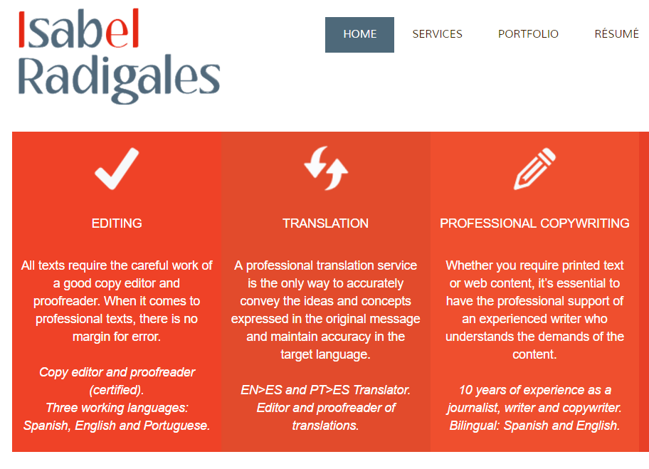 ES>EN translation of a business website for a freelance translator, editor, proofreader and copywriter.