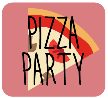 Pizza Party - Pizza (cheese, with optional veggie toppings)Choice of Cake + FrostingFruit Kabbobs OR Salad SkewersChoice of Drink