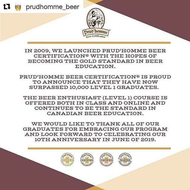 #Repost @prudhomme_beer (@get_repost) ・・・ Prud'homme Beer Certification celebrates 10,000 Level 1 graduates!!! 🎉🎉🎉🎉 For more info, please visit: http://bit.ly/2N099Fq . . . #beer #prudhommebeercertification #prudhommebeer #beerclass #beerschool #beereducation #beerenthusiast #bigannouncement #celebration