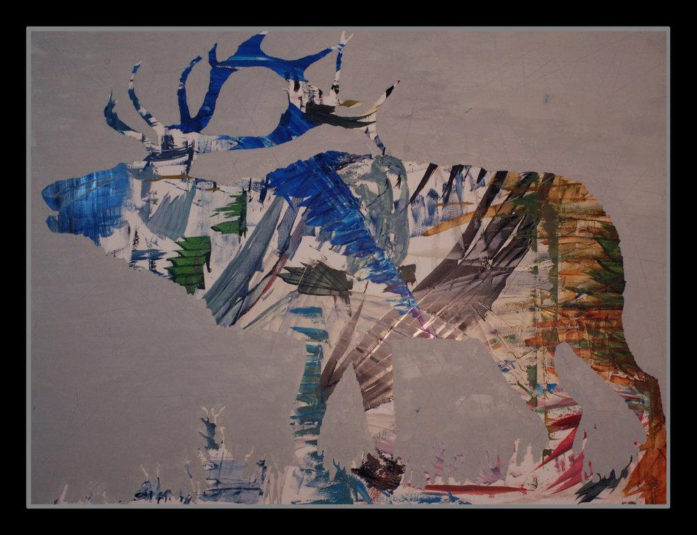 """Elk=Elements, 30""""x40"""" oil on board, 2016"""