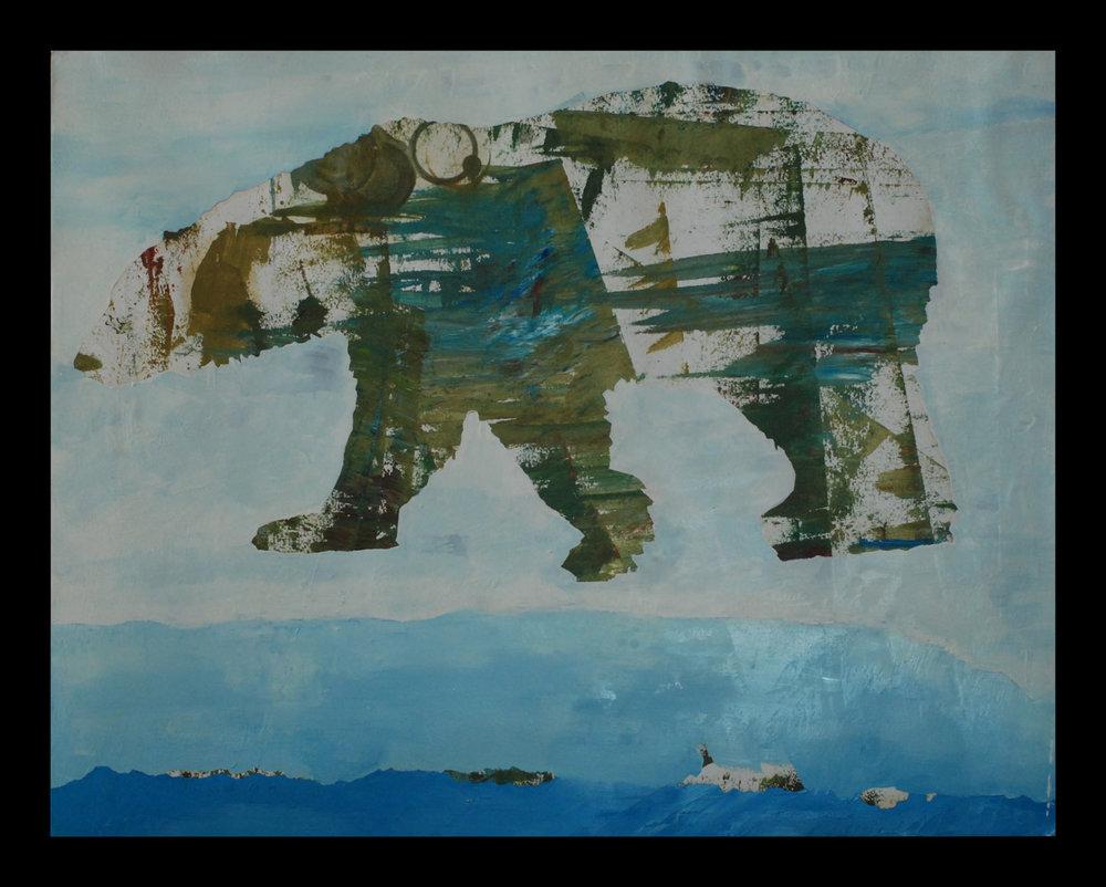 "Polar Bear, 19""x24"" mixed media on paper, 2016"