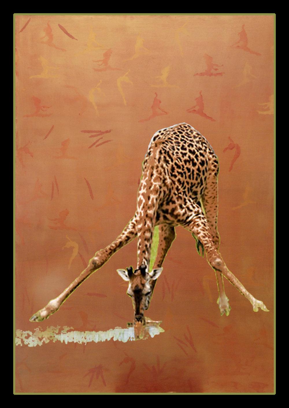 """Giraffe, 36""""x48"""" oil on board, 2016"""