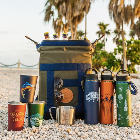 eco-conscious reusable water bottles and coffee mugs united by blue
