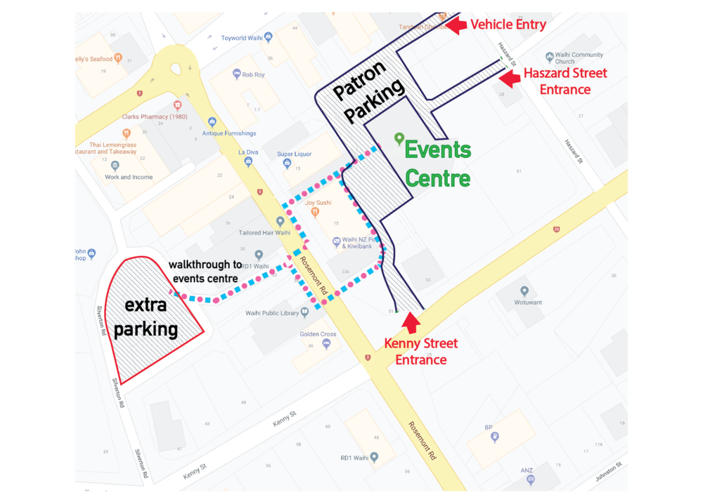 Extra parking is available on Silverton road with a walkthrough to The Events Centre.