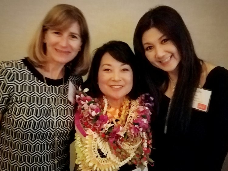Women To Watch Honoree, Susan Utsugi, MCBL Advisory Board Chair with Colleen McAluney MCBL Program Manager & Terri Funakoshi, MCBL Director.