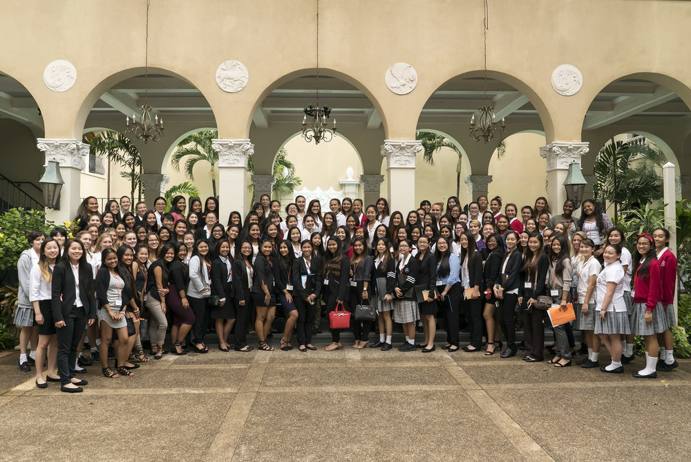 2017 Spring Girls' Summit O'ahu- The young women of Farrington High School, McKinley High School & St. Andrew's Schools- The Priory- at YWCA O'ahu Laniākea Courtyard.