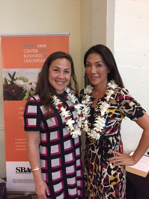 Meli James, President of the Hawaii Venture Capital Association (HVCA), and Tina Fitch, CEO and Co-Founder of Hobnob, at the Wahine Forum Network luncheon on May 11 at YWCA O'ahu's Elizabeth Fuller Hall.