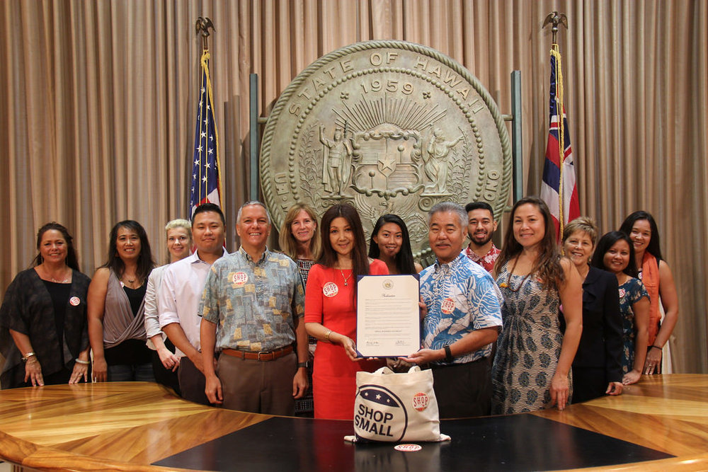 MCBL Director & Shop Small Hawaii Chair Terri Funakoshi receives the Proclamation in Recognition of Small Business Saturday Hawaii on behalf of all Small Businesses in the State of Hawaii.