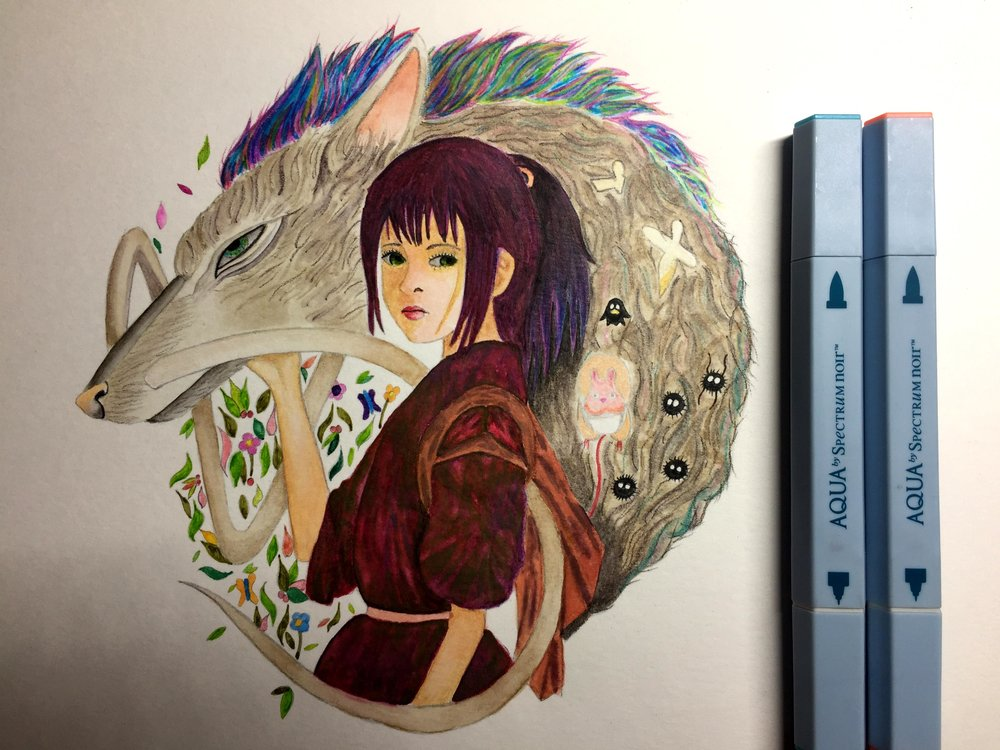 WIP Of My Spirited Away Anime Painting Using Spectrum Noir Aqua Markers, Colorista, ColourTint and AquaBlend