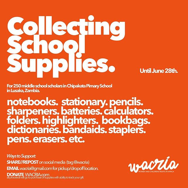 Hello everyone 🌍 We have been collecting some back-to-school items off the net, but we also wanted to reach out to our Instagram family to ask for help as well🎁 — @WACRIA is heading to Lusaka, Zambia to research and help develop #communitydriven #sustainable education and health measures that will positively impact graduation rates and reduce health-related issues with the #community. Our team will be assisting the students and teaching staff as they prepare for and take on a new school term! *collecting only new or refurbished items* —  #helpisneeded #give #zambia #startup #africa #donate #childrenarethefuture #education #health #oneworld #letgirlsbegirls