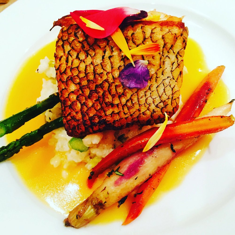 Pan Seared Branzino with Asparagus and Roasted Root Vegetables