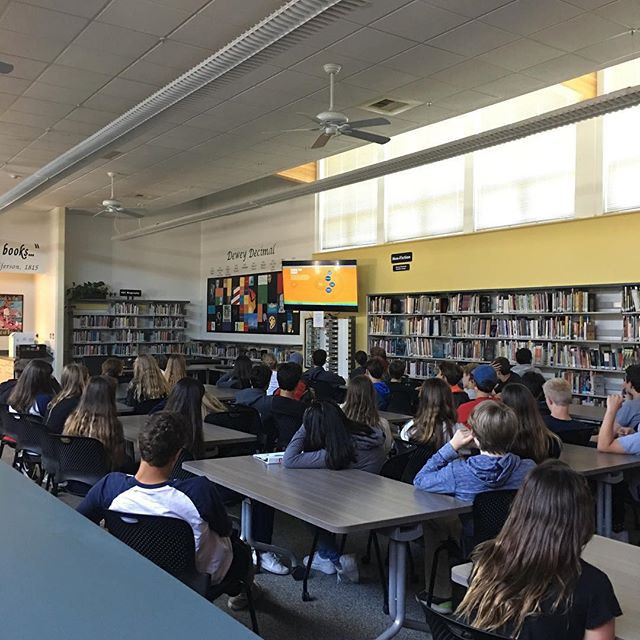 Hall Middle School 8th graders watch Not Alone.