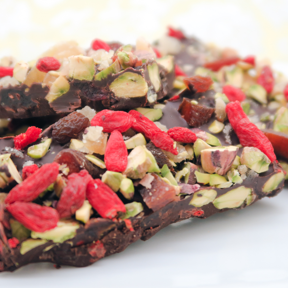 Oozing with goji berries, pistachios and most importantly, chocolate.
