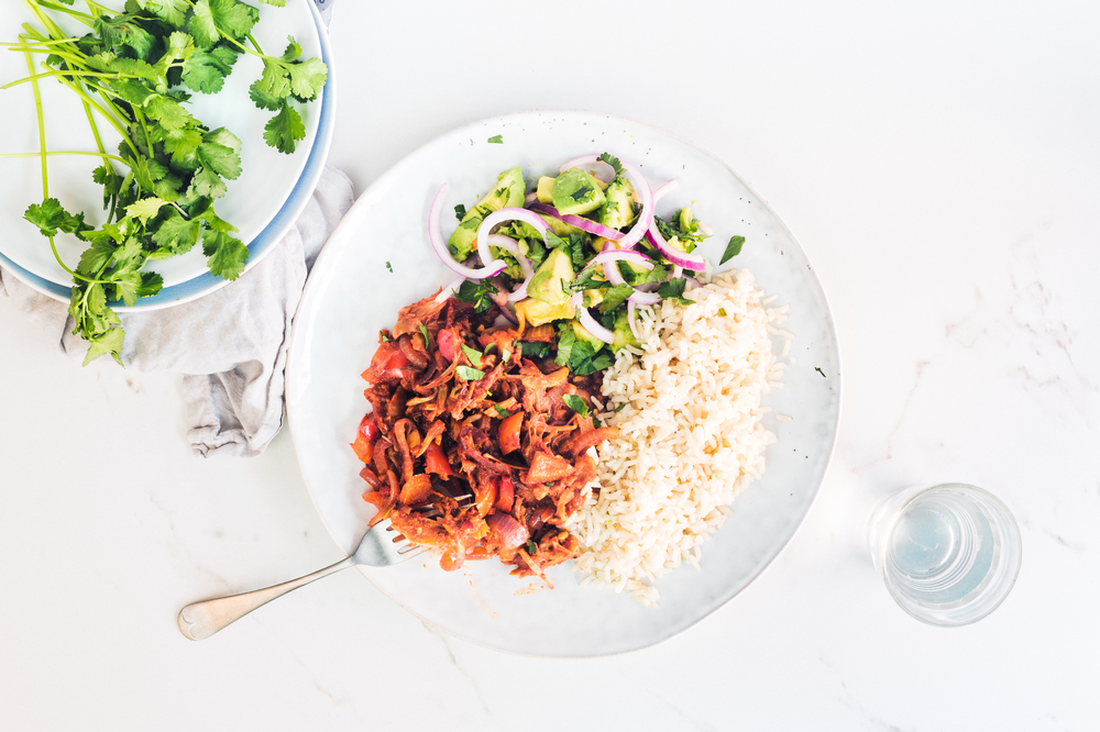 Pulled barbecue jackfruit with brown rice and avo salsa.