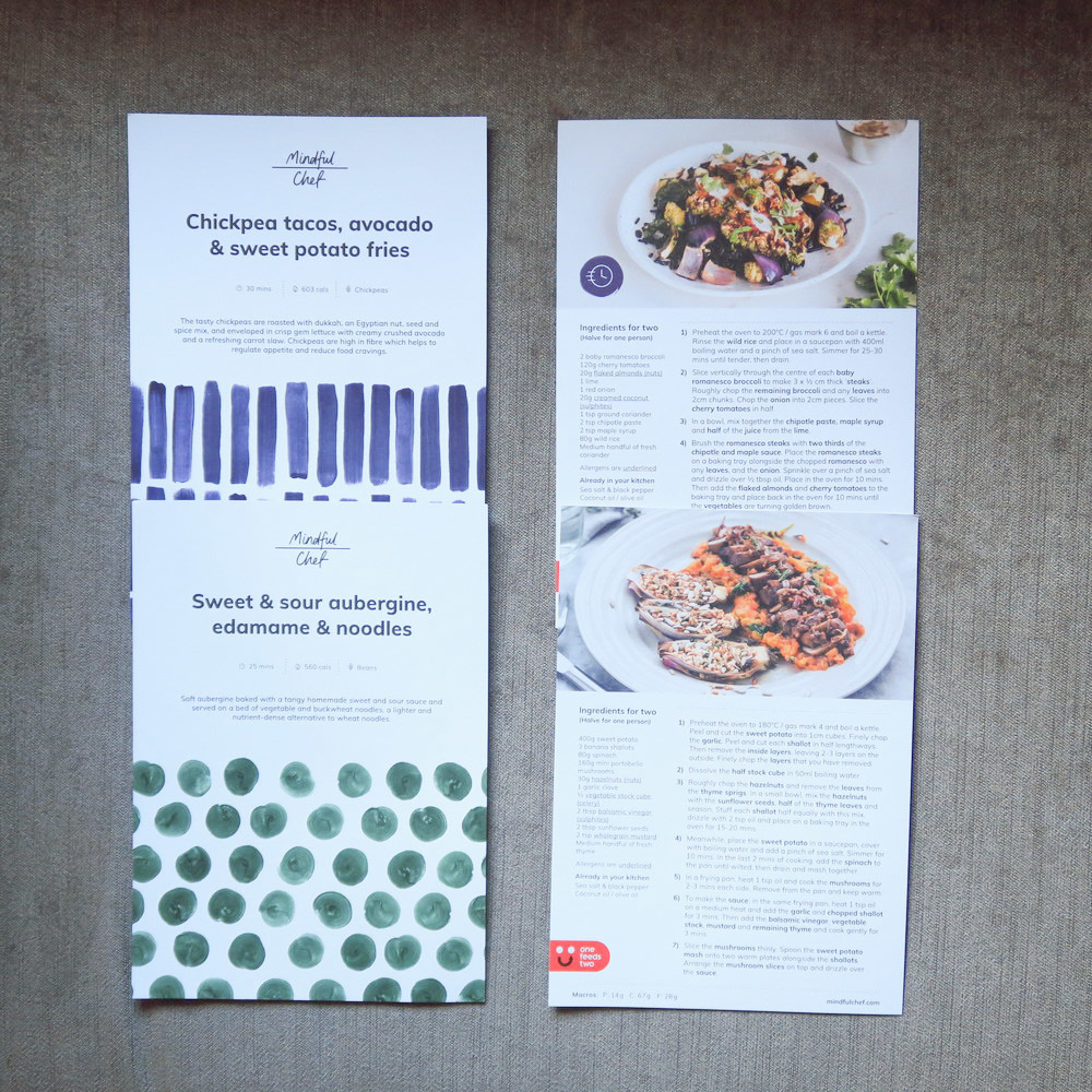 Recipe cards are colour coded with the bags for ease of reference.