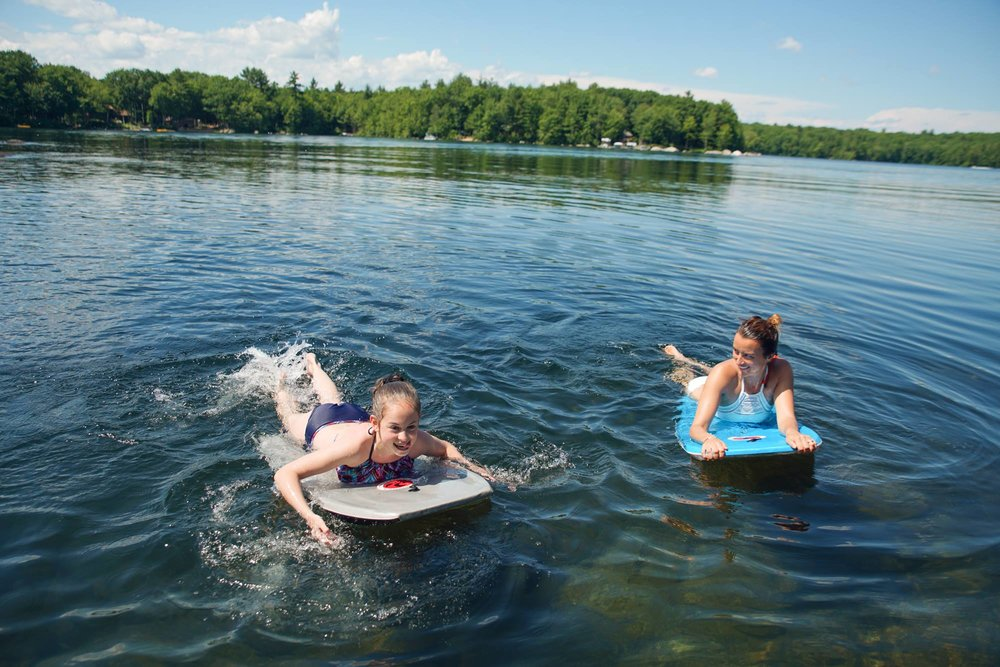My niece and me, bobbing about on a lake